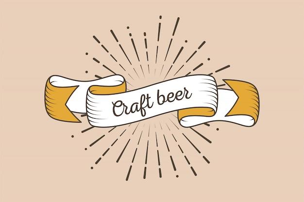 Cinta retro de moda con texto cerveza artesanal y rayos de luz