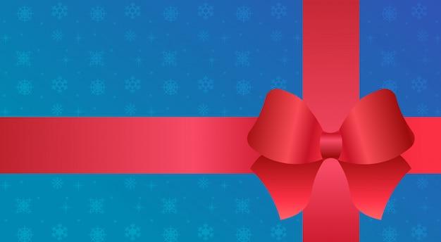 Cinta roja en azul feliz navidad feliz año nuevo decoración plana