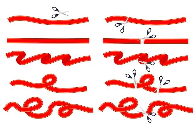Cinta roja con conjunto de dibujos animados de tijeras aislado sobre fondo blanco.