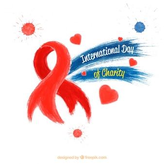Cinta roja para el día internacional de la caridad