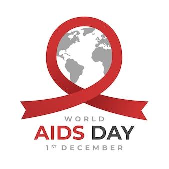 Cinta roja del día mundial del sida de diseño plano alrededor del globo terráqueo