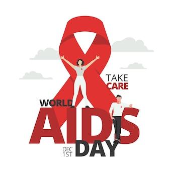 Cinta roja día mundial del sida