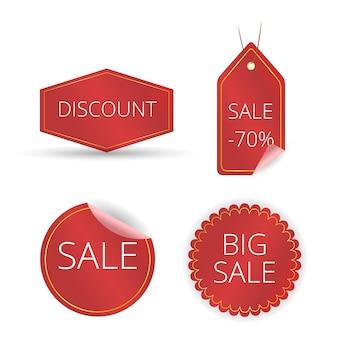 Cinta roja de etiqueta de precio, promoción de venta, nueva oferta, conjunto de etiquetas de descuento.