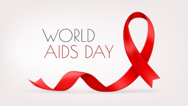 Cinta roja sobre fondo rojo. día mundial del sida