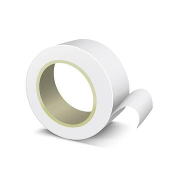 Cinta de rollo adhesiva blanca en blanco de plantilla realista.
