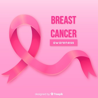Cinta rosa realista para la concientización sobre el cáncer de mama