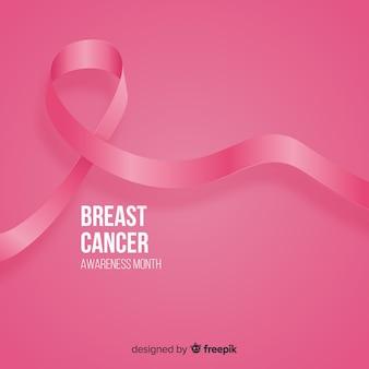Cinta rosa realista para evento de concientización sobre el cáncer de mama