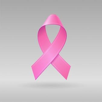 Cinta rosa realista sobre fondo gris claro. símbolo de conciencia de cáncer de mama en octubre. plantilla para pancarta, póster, invitación, folleto. ilustración.