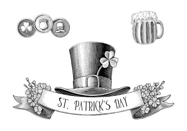 Cinta y sombrero del día de san patricio en blanco y negro en estilo grabado