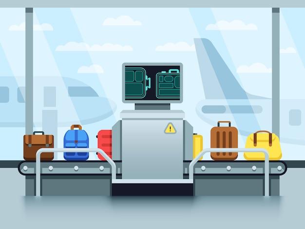 Cinta transportadora del aeropuerto con equipaje de pasajeros y escáner de la policía. concepto de vector terminal punto de control