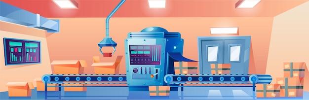Cinta transportadora con almacén de la planta de fábrica de cajas de cartón o interior de la oficina de correos con línea de producción automatizada con paquetes de mercancías o productos en paquetes de cartón ilustración de dibujos animados