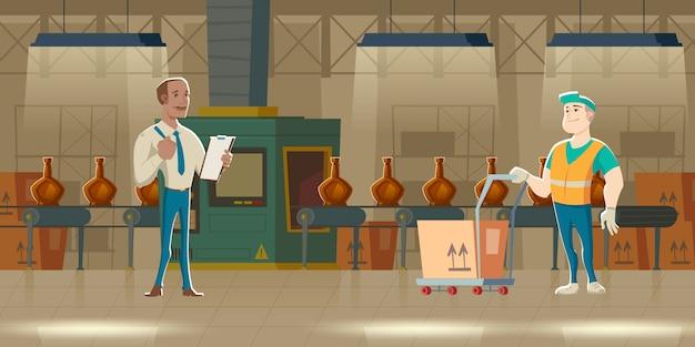 Cinta transportadora con botellas, fabricación de dibujos animados