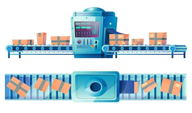 Cinta transportadora con cajas de cartón en el almacén de la planta de fábrica o la línea de producción automatizada de la oficina de correos con productos o paquetes de productos aislados en la ilustración de dibujos animados de pared blanca