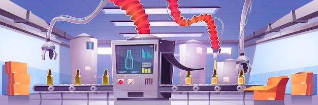 Cinta transportadora en la fábrica de producción de bebidas