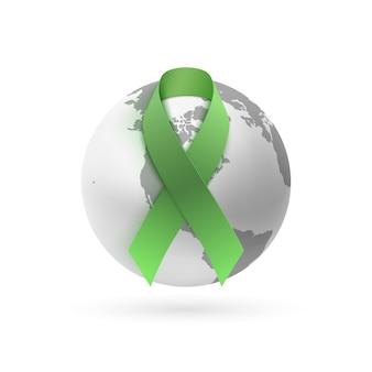 Cinta verde con icono de tierra monocromo aislado sobre fondo blanco. cartel, tarjeta de felicitación o plantilla de folleto.