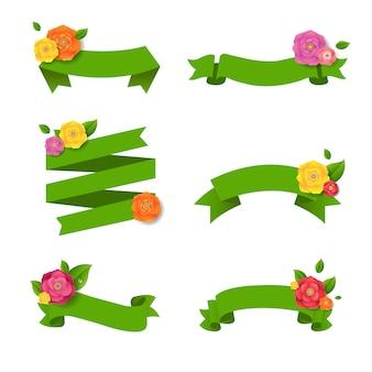 Cinta verde de la web con flores grandes conjunto