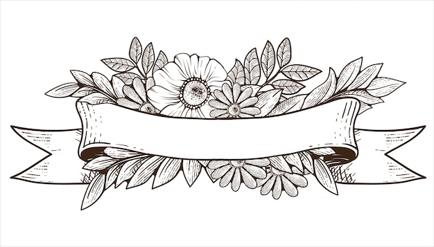 Cinta vieja con adornos de flora