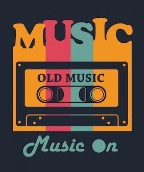 Cinta vieja música para el diseño de la camiseta