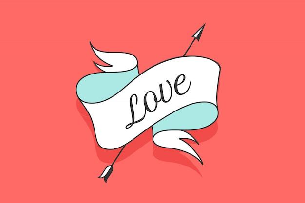 Cinta vintage antigua con texto amor
