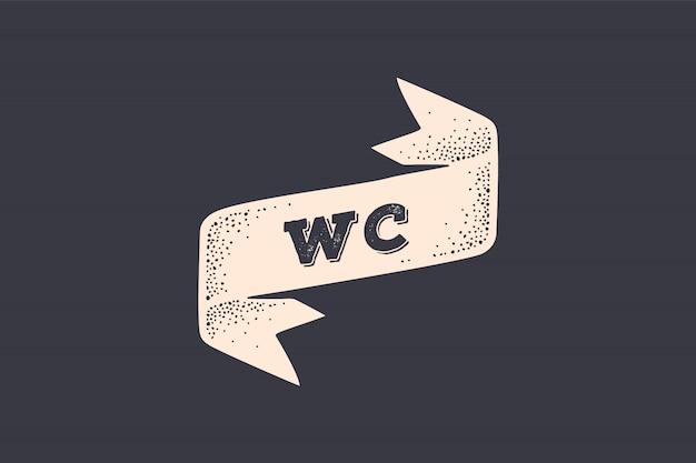 Cinta wc. cinta de la vieja escuela con texto wc