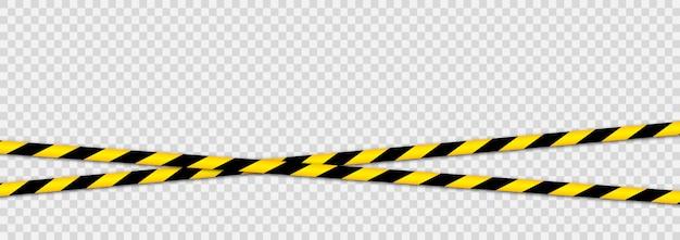 Cintas de advertencia contra amenazas. línea de rayas negras amarillas.