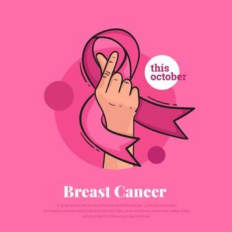 Cintas de cáncer de mama con amor mano símbolo coreano