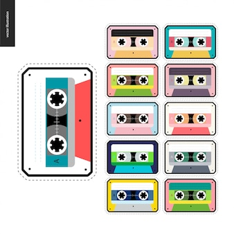 Cintas de cassette parches conjunto plano
