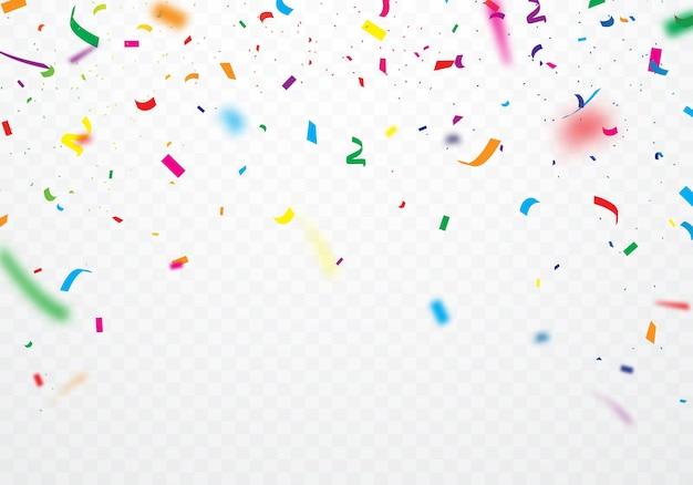 Cintas de colores y confeti se pueden separar de un fondo transparente