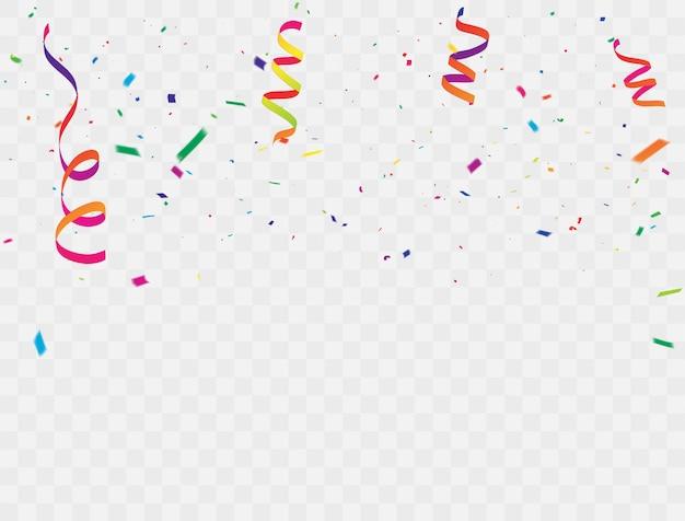Cintas de colores de confeti.