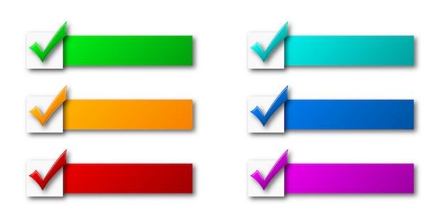 Cintas de colores con marcas de verificación.