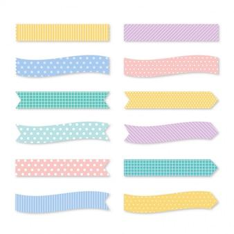 Cintas de colores pastel en diferentes estilos. cinta de enmascarar aislada sobre fondo blanco.