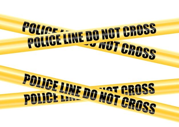 Cintas cóncavas y convexas amarillas de la barricada de la policía que cruzan