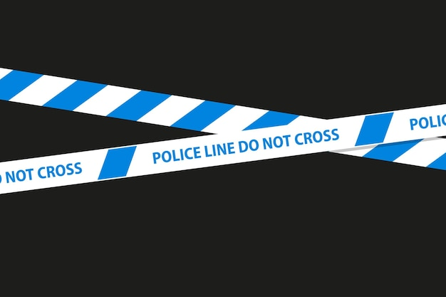 Cintas sin costura de peligro, precaución y advertencia. borde de rayas policiales cruzadas azules. ilustración de vector de crimen.