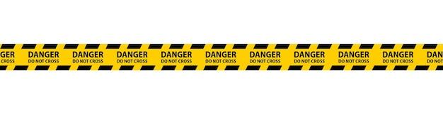 Cintas sin costura de peligro, precaución y advertencia. borde de rayas policiales negras y amarillas. ilustración de vector de crimen.