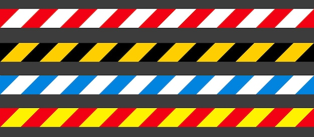 Cintas sin costura de peligro, precaución y advertencia. borde de rayas policiales negras, amarillas, rojas y blancas. ilustración de vector de crimen.