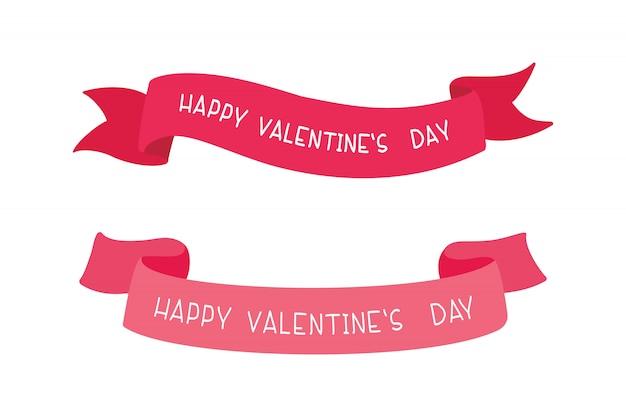 Cintas del día de san valentín ilustraciones vectoriales con conjunto de tipografía.