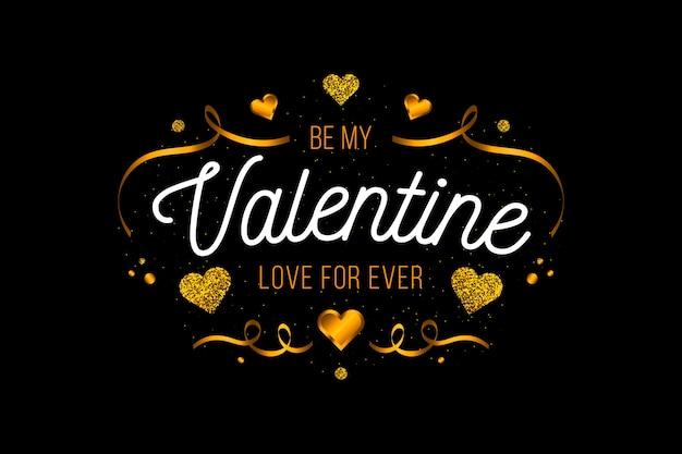 Cintas doradas y corazones fondo de san valentín