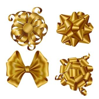 Cintas doradas y lazos para envolver el presente conjunto de cajas