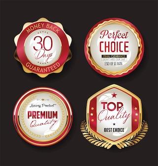 Cintas y etiquetas de insignias de oro vintage retro