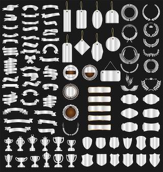 Cintas etiquetas laureles, escudos y trofeos.