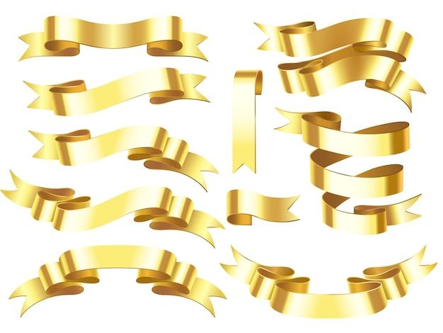 Cintas horizontales de oro de premio o celebración con ilustración aislada de desplazamiento
