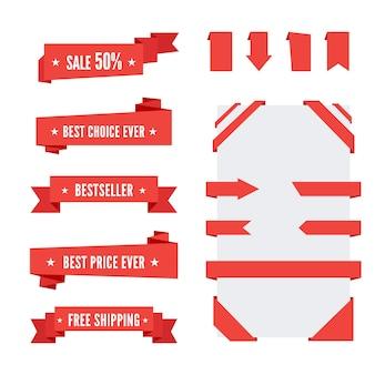 Cintas de papel de origami rojo para la venta y publicidad. elementos de diseño plano. cinta de esquina