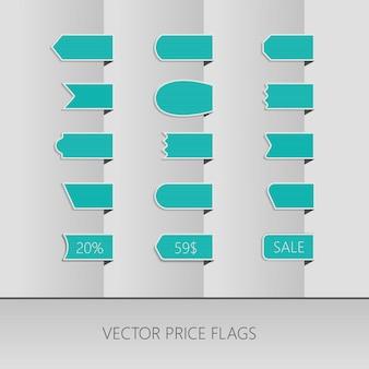 Cintas de precio de vector azul
