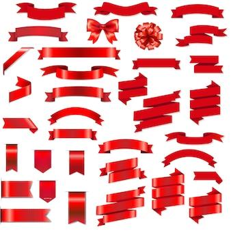 Cintas rojas y lazo con ilustración de malla de degradado