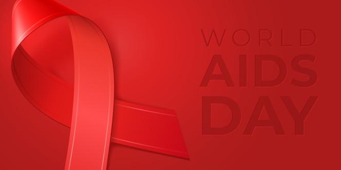 Cintas rojas realistas para el día mundial del sida. símbolo de conciencia de vih de diciembre.