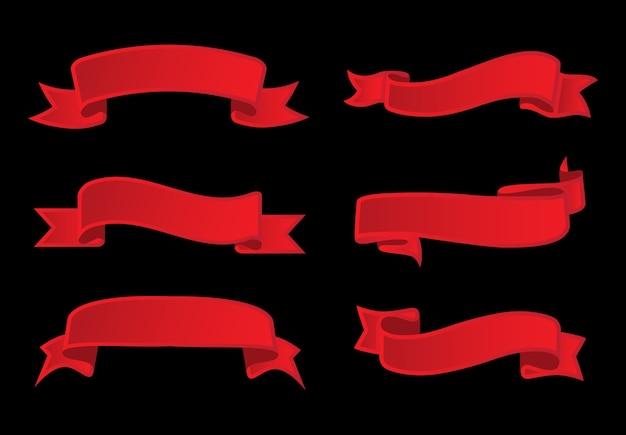 Cintas rojas vintage Vector Premium