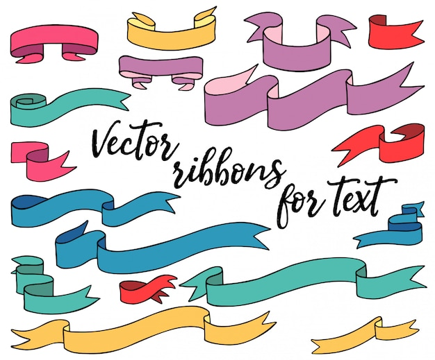 Cintas vectoriales de color para texto