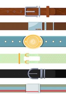 Cinturón de cuero. varios dibujos animados diferentes tipos de cinturones para hombres