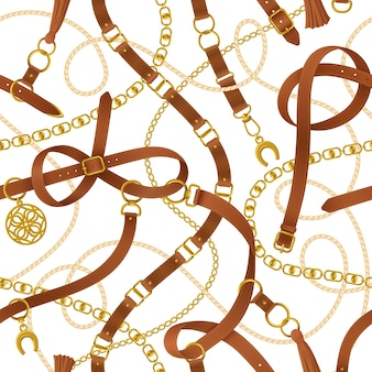 Cinturón decorativo negro realista de patrones sin fisuras con ilustración de hebilla