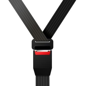 Cinturón de seguridad negro realista cerrado sobre blanco